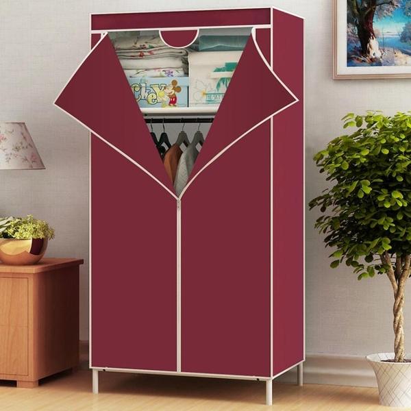 衣櫃 衣櫃簡易布藝鋼架帆布單人小號組合衣櫥宿舍加粗加固鋼管簡約現代【限時八五鉅惠】
