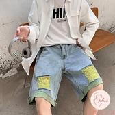 牛仔短褲大碼百搭男夏季寬松直筒褲子外穿五分褲【大碼百分百】