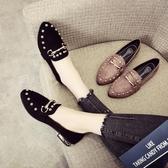 春季新款尖頭平底鞋女韓版百搭網紅鞋子淺口鉚釘瓢鞋豆豆單鞋「艾瑞斯居家生活」
