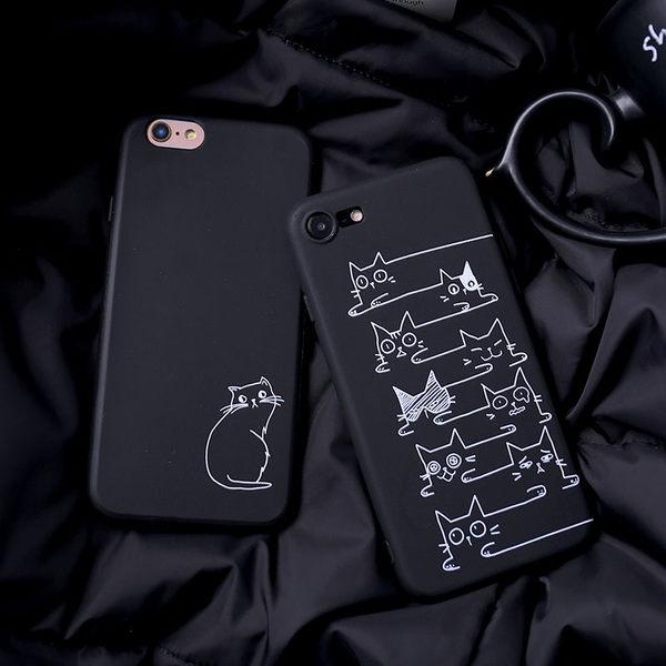 iPhone手機殼 可掛繩 黑底白線條簡約貓咪 浮雕矽膠軟殼 蘋果iPhone7/iPhone6/iPhone5
