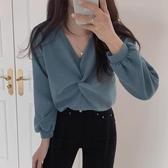 長袖襯衫襯衫女長袖秋季韓版法式復古洋氣寬鬆v領氣質上衣設計感小眾襯衣 雙11 伊蘿