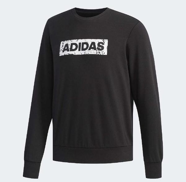 Adidas CREW SWT BOX LOGO 男款黑色長袖上衣-NO.DW4601