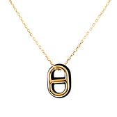 【HERMES】O'Maillon 皮革及金屬豬鼻項鍊(金色/黑色) H079528CC89
