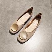 春夏平底方頭單鞋女淺口軟底平跟樂福鞋圓扣復古軟皮舒適奶奶鞋【Ifashion·全店免運】