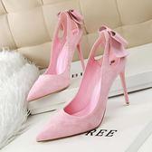 韓版高跟鞋子 細跟顯瘦絨面淺口尖頭鞋《小師妹》sm513