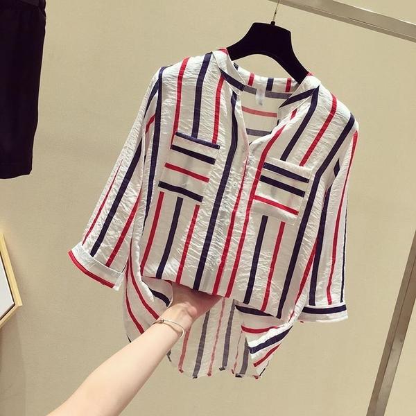(免運)DE shop - 豎條紋襯衫寬鬆七分袖V領雪紡襯衫 - XA-6719