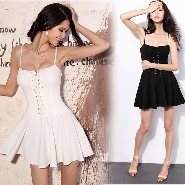 性感洋裝 法式小眾氣質小禮服裙子裹胸綁帶蓬蓬裙高腰顯瘦吊帶連衣裙女 莎瓦迪卡