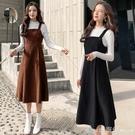 吊帶裙 秋冬季新款小香風外穿背心吊帶裙子套裝燈芯絨背帶洋裝兩件套女 開春特惠