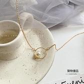 冷淡風簡約鎖骨鍊設計感幾何珍珠項鍊女潮【聚物優品】