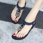 平底涼鞋 涼鞋女夏平底新款民族風大尺碼女鞋牛筋軟底防滑孕婦鞋夾腳涼鞋