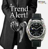 ATOP 不銹鋼手錶 鱷魚皮錶帶 送禮推薦 世界時區手錶
