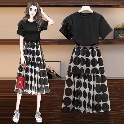 L-4XL胖妹妹大碼套裝~大碼女裝胖mm時尚減齡收腰顯瘦遮肚短袖半身裙兩件套裝4F109愛尚布衣