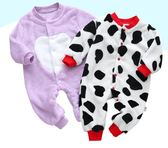 嬰兒連體衣睡衣春秋冬款加厚哈衣0-1-2歲男女寶寶爬服新生兒衣服   夢曼森居家