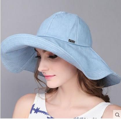 春夏牛仔出遊防曬遮陽帽大簷沙灘帽太陽帽-charle0050