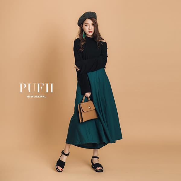 PUFII-寬褲 高腰顯瘦傘狀後假口袋造型A字寬褲裙 3色- 0301 現+預 春【CP13302】