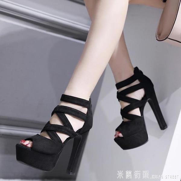 16公分舞臺走秀鞋15cm超高跟粗跟涼鞋恨天高一字扣黑色高跟鞋女夏