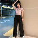 套裝 小個子顯高套裝女夏新款條紋短袖T恤洋氣高腰垂感闊腿長褲兩件套