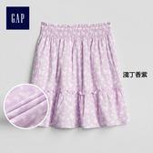 Gap女童 時尚柔軟舒適印花半身短裙 229764-淺丁香紫