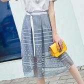 春季2018新款韓版時尚高腰中長款網紗裙子LJ3847『miss洛羽』