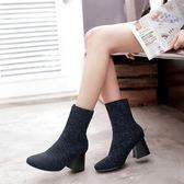 秋冬馬丁靴 翻邊毛線彈力粗跟中筒襪靴子《小師妹》sm191