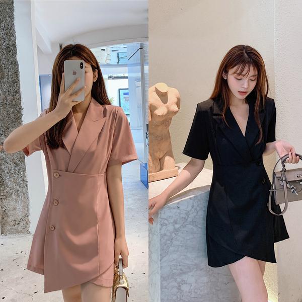 超殺29折 韓國風氣質收腰西裝領顯瘦V領小西裝短袖洋裝