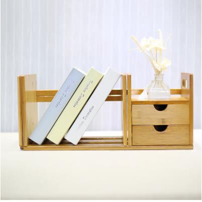 楠竹桌上書架創意電腦伸縮桌面書櫃學生簡易置物架小型辦公收納架 伸縮書架