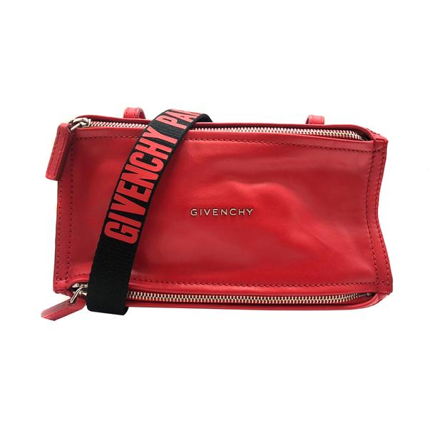 【台中米蘭站】全新品 GIVENCHY Pandora 牛皮/字母背帶斜背包-mini (紅)