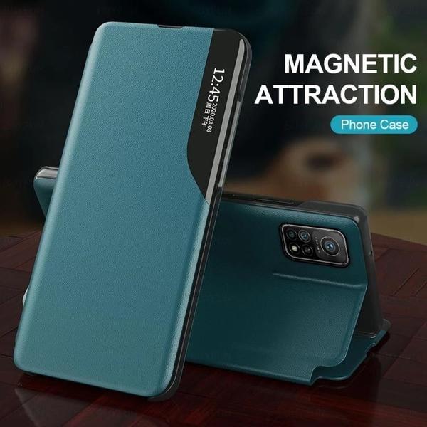 小米Poco M3 X3 NFC 半側透明智能視窗皮套 翻蓋磁吸 帶支架 皮革手機殼