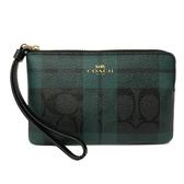 【COACH】經典C LOGO綠格紋手拿零錢包(PVC-綠格紋)