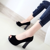 大碼魚嘴單鞋女鞋春秋新款防水臺高跟粗跟涼鞋絨面黑色ol工作鞋子