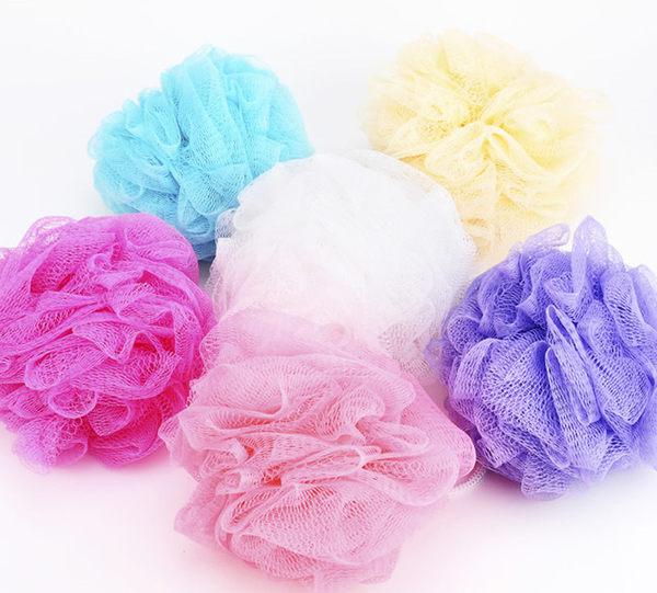 果凍色網狀沐浴球 顏色隨機  節省沐浴乳的好幫手【美日多多】