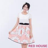 【RED HOUSE 蕾赫斯】雪紡拼接花朵洋裝(共2色)-單一特價