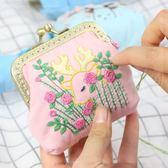新款刺繡diy花鹿歐式卡通動物口金包布藝立體繡萌寵錢包卡包3D