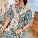 2020夏季薄款防曬蕾絲鏤空配裙子假領子外搭絲巾小披肩鉤花三角巾