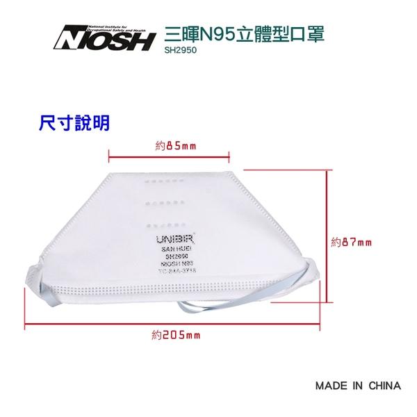 【醫康生活家】三暉N95立體型口罩 SH2950 折疊式20片/盒