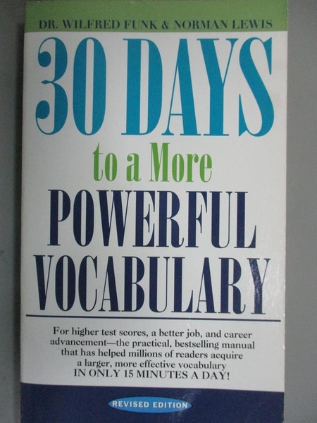【書寶二手書T1/原文書_NSA】30 Days to a More Powerful Vocabulary_Funk, Wilfred John