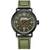 JEEP SPIRIT 暗夜潛行休閒皮帶錶-黑框綠x軍綠色
