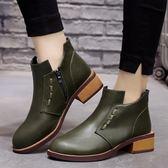 【36-41全尺碼】短靴.復古縫線設計側拉鍊短靴.白鳥麗子