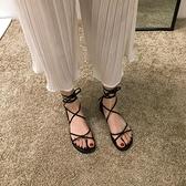 綁帶夏季涼鞋女2021新款夏羅馬黑色系帶ins鞋子百搭夏天平底鞋潮 【端午節特惠】
