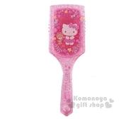〔小禮堂〕Hello Kitty 塑膠方頭氣墊手握梳《粉.花朵》氣墊梳.直梳 0840805-13407