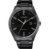 【台南 時代鐘錶 CITIZEN】星辰 Eco-Drive光動能 簡約質感時尚腕錶 BM7355-82E 黑鋼 41mm