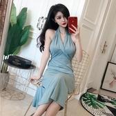 春季新款韓版時尚掛脖露背綁帶禮服裙修身顯瘦中裙氣質洋裝 三角衣櫃