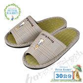【クロワッサン科羅沙】Peter Rabbit 經典細格室內草蓆拖鞋 (棕色30CM)