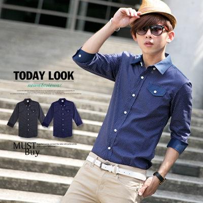襯衫‧柒零年代 LOHAS【N8056J】韓版都會雅痞摩登時髦質感型男圓點七分袖襯衫(Gar6118)