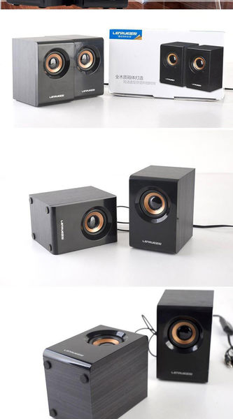 LEnRuE/藍悅 v1000 筆記本音箱台式電腦多媒體迷你音箱木制小音響