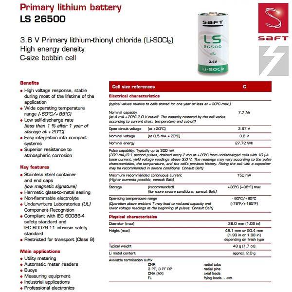 ✚久大電池❚ 法國 SAFT LS-26500 3.6V 7.7Ah 一次性鋰電 【PLC工控電池】SA12