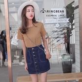 牛仔裙--時尚百搭舒適鬆緊高腰個性金屬扣口袋A字修身牛仔裙(藍XL-5L)-Q97眼圈熊中大尺碼