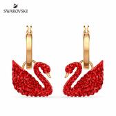施華洛世奇 Iconic Swan 淡金色紅天鵝穿孔耳環