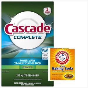 美國Cascade 長效洗碗機洗碗粉-清新(75oz)*2+蘇打粉*3