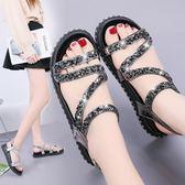 韓版時尚涼鞋學生水鑽平底鞋海邊沙灘羅馬女鞋百搭